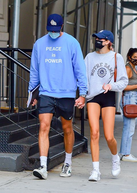 new york, ny september 11 model kaia gerber and jacob elordi are seen walking in soho on september 11, 2020 in new york city photo by raymond hallgc images