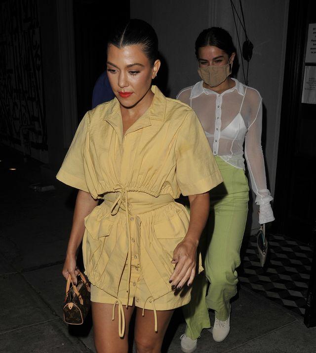 los angeles, ca   september 15 reality star kourtney kardashian and tick tock star addison rae leave craigs on september 15, 2020 in los angeles, california photo by twoeyephotosmegagc images