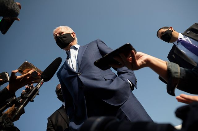 topshot   democratic presidential candidate joe biden speaks to the press art new castle airport in delaware on september 23, 2020   biden travels to charlotte, north carolina, for a campaign event photo by jim watson  afp photo by jim watsonafp via getty images