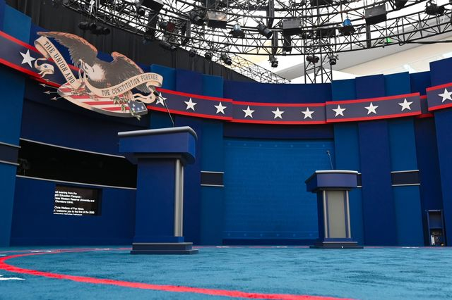 the stage of the first us presidential debate is seen on september 28, in cleveland, ohio   tuesdays clash in cleveland, ohio, the first of three 90 minute debates, represents the first time voters will have the chance to see the candidates facing off against one another directly photo by eric baradat  afp photo by eric baradatafp via getty images