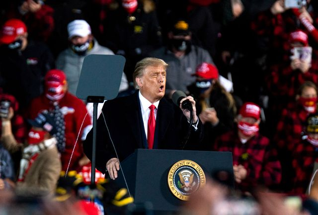 duluth, mn   september 30 president donald trump speaks during a campaign rally at the duluth international airport on september 30, 2020 in duluth, minnesota the rally is trumps first after last nights presidential debate photo by stephen maturengetty images