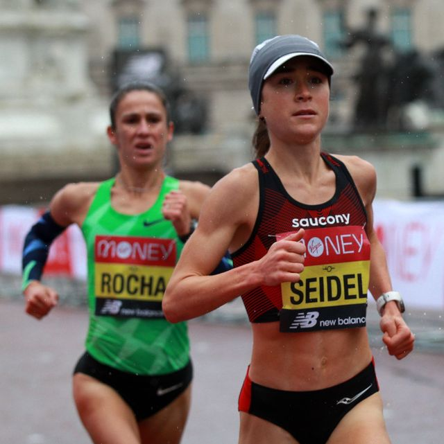 us runner molly seidel r leads portugals carla salome rocha during the womens race of the 2020 london marathon in central london on october 4, 2020   this years london marathon, an elite athlete only event, takes place in a secure biosphere on a enclosed, looped course, in st jamess park, due to coronavirus restrictions photo by ian walton  pool  afp  restricted to editorial use   sponsorship of content subject to lmel agreement photo by ian waltonpoolafp via getty images