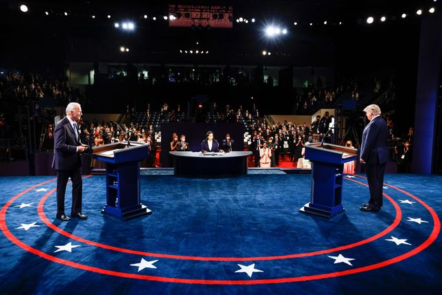 us president donald trump and democratic presidential candidate and former us vice president joe biden argue during the final presidential debate at belmont university in nashville, tennessee, on october 22, 2020 photo by jim bourg  pool  afp photo by jim bourgpoolafp via getty images