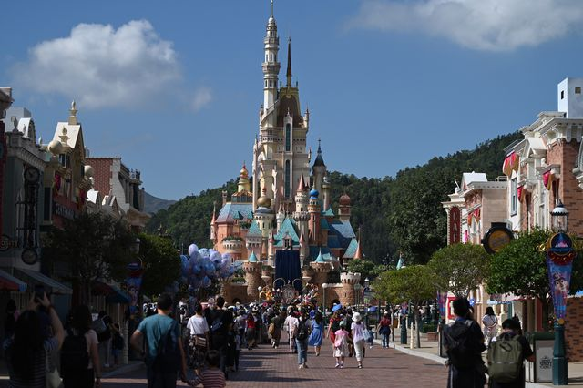 a general view showing the new castle inside the disneyland theme park on november 20, 2020 in hong kong, china today hong kong disneyland reopens its new princess castle after closing it for renovations  photo by vernon yuennurphoto