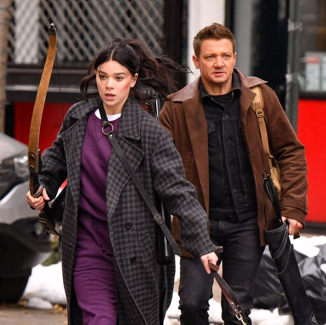 new york, ny   december 08  hailee steinfeld and jeremy renner seen on the set of hawkeye on the lower east side on december 8, 2020 in new york city  photo by james devaneygc images