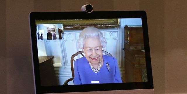 london, england   december 10 queen elizabeth ii appears on a screen by videolink from windsor castle, where she is in residence, during a virtual audience to receive his excellency the high commissioner for brunei darussalam first admiral pengiran dato seri pahlawan norazmi bin pengiran haji muhammad and his wife, pg datin noralam binti pg hj kahar, who were at londons buckingham palace on december 10, 2020 in london, england photo by yui mok   wpa poolgetty images