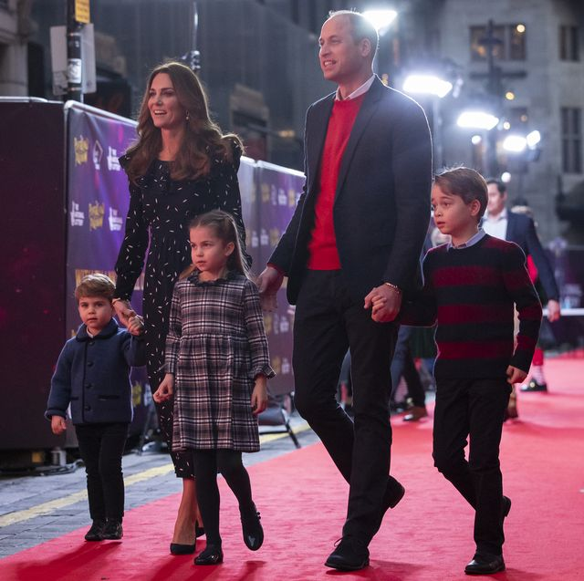 london, england   december 11 prince william, duke of cambridge and catherine, duchess of cambridge with their children, prince louis, princess charlotte and prince george, attend a special pantomime performance at london's palladium theatre, hosted by the national lottery, to thank key workers and their families for their efforts throughout the pandemic on december 11, 2020 in london, england photo by  aaron chown   wpa poolgetty images