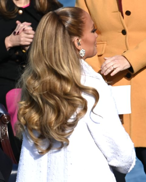 jlo inauguration ponytail hair
