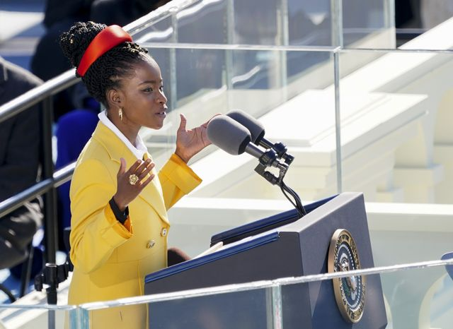 us poet amanda gorman reads a poem during the 59th presidential inauguration at the us capitol in washington dc on january 20, 2021 photo by kevin dietsch  pool  afp photo by kevin dietschpoolafp via getty images