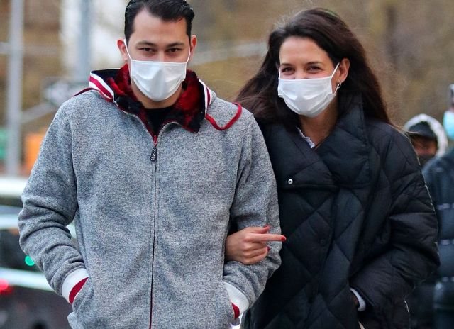 new york city, ny   january 22  emilio vitolo jr and katie holmes out for a walk on january 22, 2021 in new york city, new york photo by lrnycmegagc images