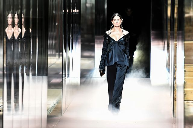 us actress demi moore presents a creation of british designer kim jones for the fendis spring summer 2021 collection during the paris haute couture fashion week, in paris, on january 27, 2021   british designer kim jones presents his first ever couture collection for fendi since he joinded italian fashion house fendi as its lead designer for womenswear in september 2020 photo by stephane de sakutin  afp photo by stephane de sakutinafp via getty images