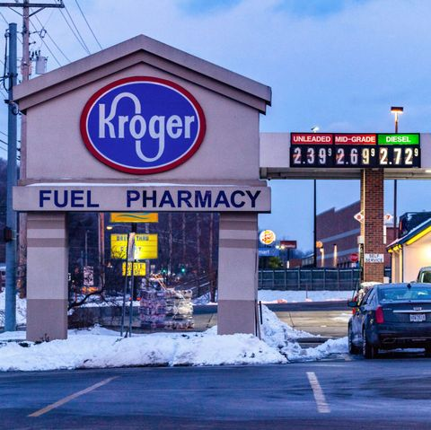 athens, ohio, united states   20210202 kroger logo is seen at one of their branches in athens businesses that line east state street in athens, ohio, an appalachian community in southeastern ohio photo by stephen zennersopa imageslightrocket via getty images