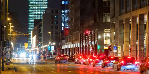 17 january 2021, berlin cars drive in the evening on leipziger straße in the direction of potsdamer platz or wait at the traffic lights of the crossing friedrichstraße photo soeren stachedpa zentralbildzb photo by soeren stachepicture alliance via getty images