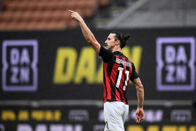 stadio giuseppe meazza, milan, italy   20210207 zlatan ibrahimovic of ac milan celebrates after scoring a goal during the serie a football match between ac milan and fc crotone ac milan won 4 0 over fc crotone photo by nicolò campolightrocket via getty images