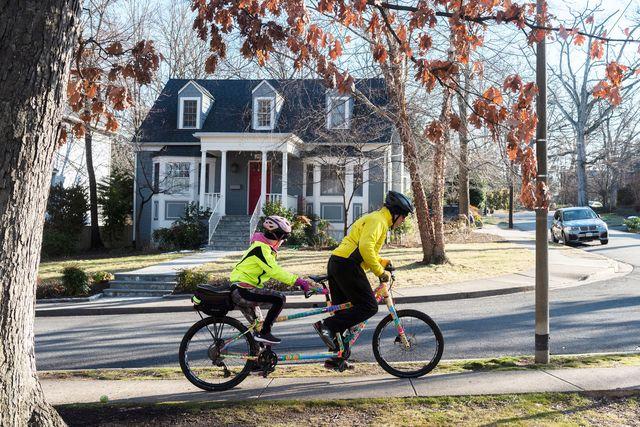 cyclists ride through lyons park section of arlington va
