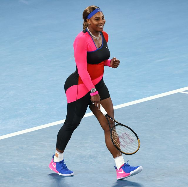 serena williams of the us celebrates beating romanias simona halep during their womens singles quarter final match on day nine of the australian open tennis tournament in melbourne on february 16, 2021 photo by david gray  afp     image restricted to editorial use   strictly no commercial use    photo by david grayafp via getty images