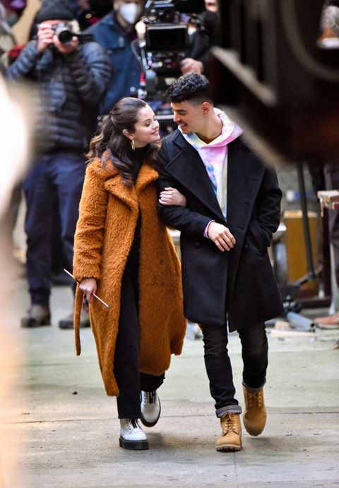 new york, ny   february 24  selena gomez and aaron dominguez seen on the set of only murders in the building in manhattan on february 24, 2021 in new york city  photo by james devaneygc images