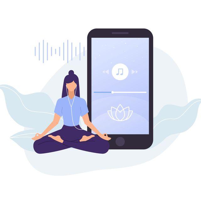 woman meditation app for yoga and meditation vector illustration