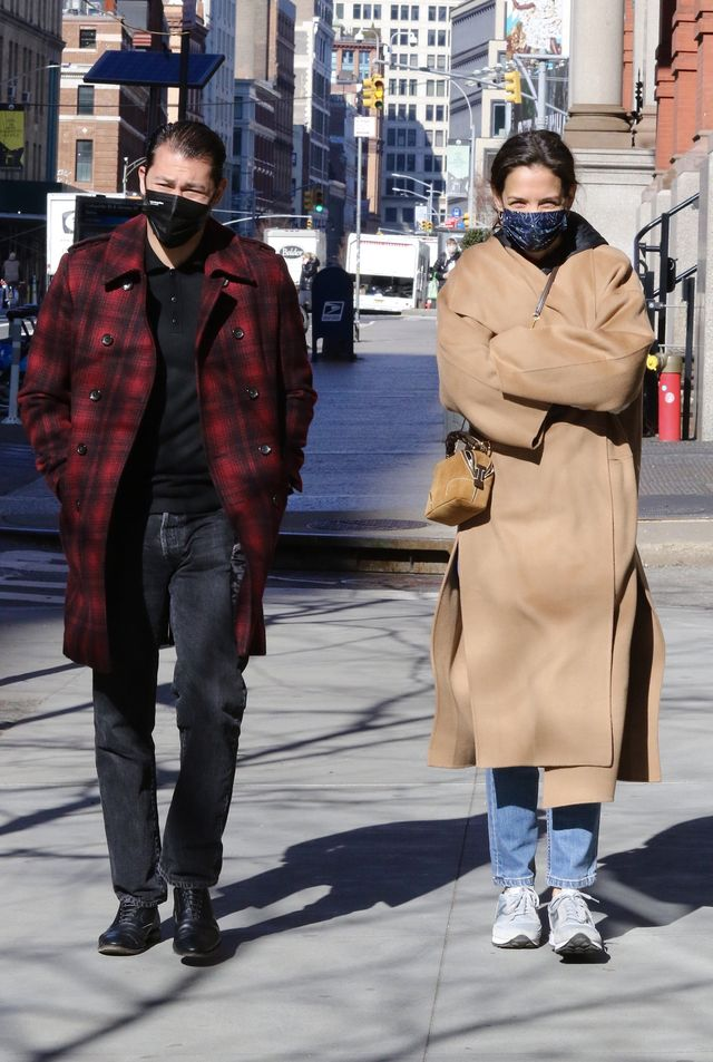new york city, ny   march 8  katie holmes and emilio vitolo jr out for a walk on march 8, 2021 in new york city, new york photo by lrnycmegagc images