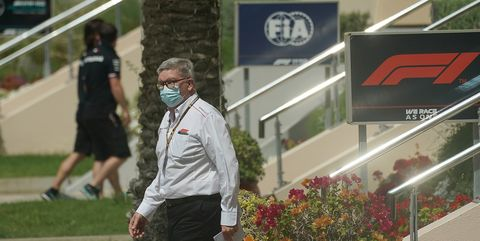 27 march 2021, bahrain, sakhir motorsport, formula 1, world championship, bahrain grand prix, drivers and teams arrive in the paddock ross brawn, managing director, motorsport   formula 1 management limited photo hasan braticdpa photo by hasan braticpicture alliance via getty images