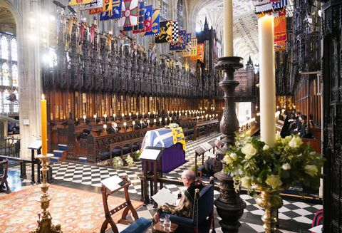 the royal family attend the funeral service of britains prince philip, duke of edinburgh inside st georges chapel in windsor castle in windsor, west of london, on april 17, 2021   philip, who was married to queen elizabeth ii for 73 years, died on april 9 aged 99 just weeks after a month long stay in hospital for treatment to a heart condition and an infection photo by jonathan brady  pool  afp photo by jonathan bradypoolafp via getty images