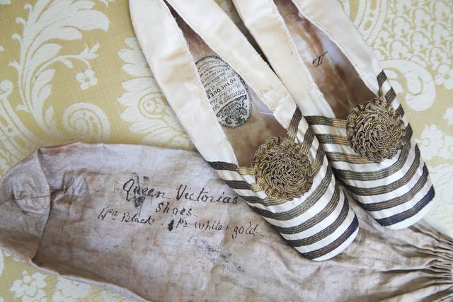 a pair of ballet style slippers which belonged to queen victoria, which are being put up for auction at bellmans, in wisborough green, west sussex picture date friday may 7, 2021 photo by gareth fullerpa images via getty images