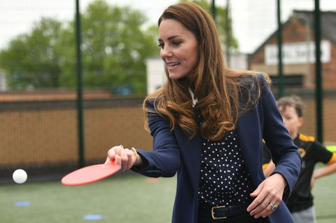 britains catherine, duchess of cambridge plays table tennis as she visits the way youth zone in wolverhampton, central england on may 13, 2021 photo by jacob king  pool  afp photo by jacob kingpoolafp via getty images