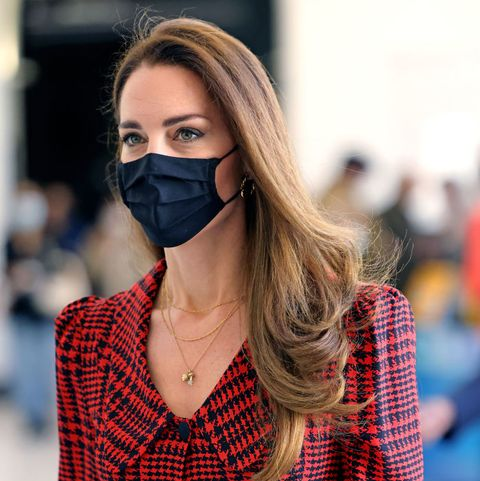 london, england   may 19 catherine, duchess of cambridge wears a facemask during her visit at the va on may 19, 2021 in london, england photo by jonathan buckmaster   wpa poolgetty images