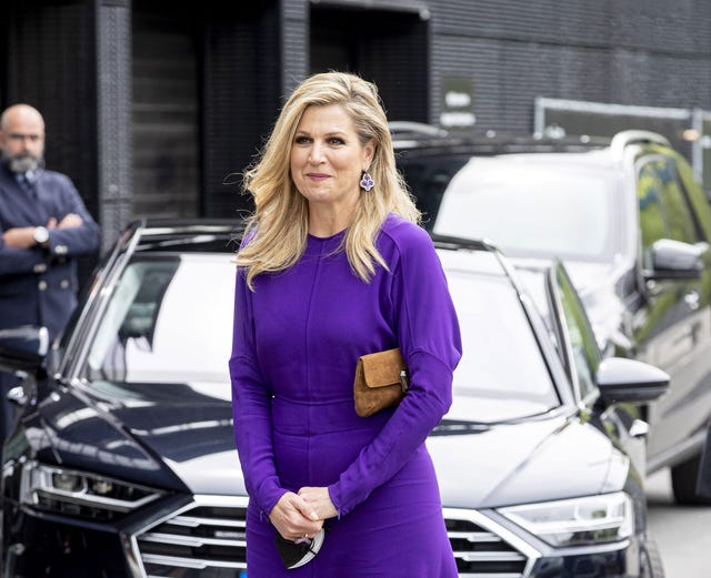 queen maxima of the netherlands visits the eurovision songfestival studios in rotterdam
