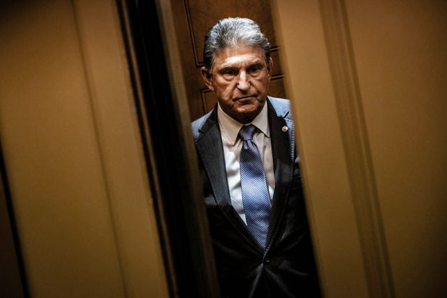 washington, dc   june 08 senator joe manchin d wv heads to a vote in the senate at the us capitol on june 8, 2021 in washington, dc the spotlight on sen manchin grew even brighter after declaring that he will vote against the democrats voting rights bill, the for the people act, in his op ed that was published in the charleston gazette mail over the weekend photo by samuel corumgetty images