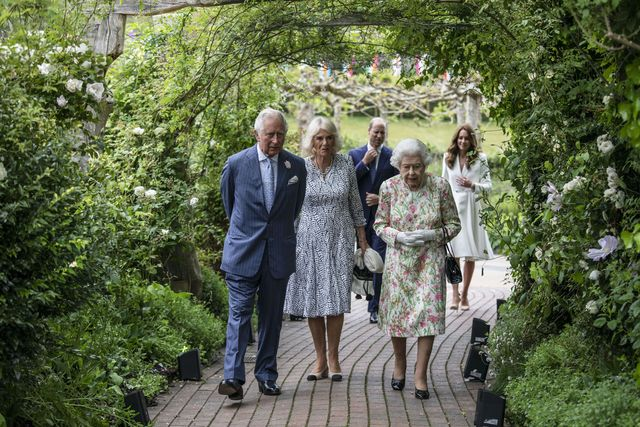 st austell, england   june 11 prince charles, prince of wales, camilla, duchess of cornwall, queen elizabeth ii, prince william, duke of cambridge and catherine, duchess of cambridge arrive for a drinks reception for queen elizabeth ii and g7 leaders at the eden project during the g7 summit on june 11, 2021 in st austell, cornwall, england uk prime minister, boris johnson, hosts leaders from the usa, japan, germany, france, italy and canada at the g7 summit this year the uk has invited india, south africa, and south korea to attend the leaders' summit as guest countries as well as the eu photo by jack hill   wpa pool  getty images