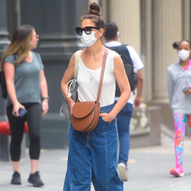 new york, ny   june 14  katie holmes is seen on june 14, 2021 in new york city  photo by raymond hallgc images