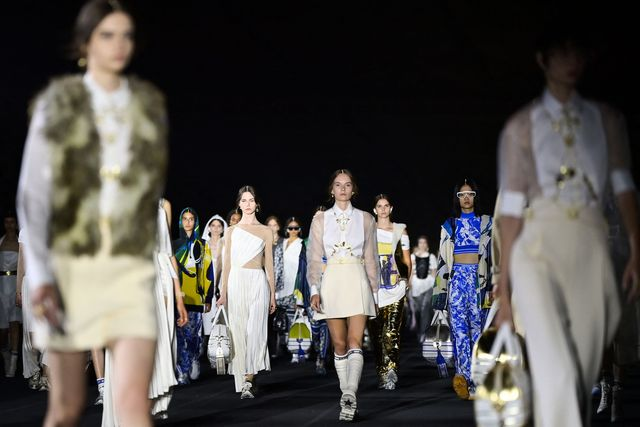 models present creations for dior during the 2022 dior croisiere cruise fashion show, at the panathenaic stadium, in athens, on june 17, 2021 photo by aris messinis  afp photo by aris messinisafp via getty images