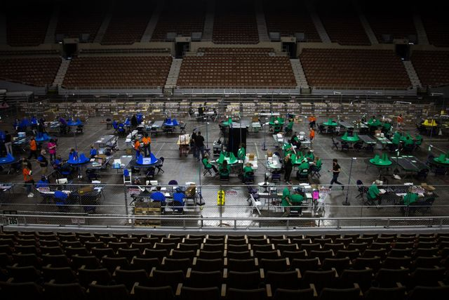 phoenix, az   may 08 contractors working for cyber ninjas, who was hired by the arizona state senate, examine and recount ballots from the 2020 general election at veterans memorial coliseum on may 8, 2021 in phoenix, arizona photo by courtney pedroza for the washington post
