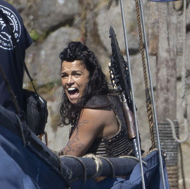 michelle rodriguez during filming for the dungeons and dragons film at carrickfergus castle in northern ireland photo by liam mcburneypa images via getty images