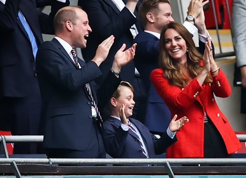 29 june 2021, united kingdom, london football european championship, england   germany, final round, round of 16 at wembley stadium britains prince william, duke of cambridge, his wife kate, duchess of cambridge, and their son prince george stand in the stands and celebrate a goal for england photo christian charisiusdpa photo by christian charisiuspicture alliance via getty images