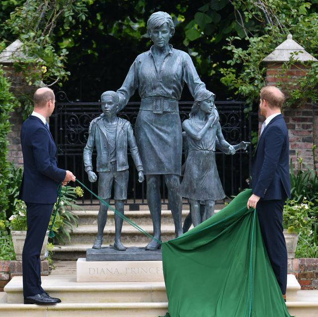 london, england   july 01 prince william, duke of cambridge left and prince harry, duke of sussex unveil a statue they commissioned of their mother diana, princess of wales, in the sunken garden at kensington palace, on what would have been her 60th birthday on july 1, 2021 in london, england today would have been the 60th birthday of princess diana, who died in 1997 at a ceremony here today, her sons prince william and prince harry, the duke of cambridge and the duke of sussex respectively, will unveil a statue in her memory photo by dominic lipinski   wpa poolgetty images