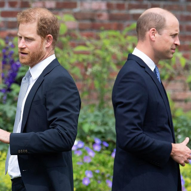 topshot   britains prince harry, duke of sussex l and britains prince william, duke of cambridge attend the unveiling of a statue of their mother, princess diana at the sunken garden in kensington palace, london on july 1, 2021, which would have been her 60th birthday   princes william and harry set aside their differences on thursday to unveil a new statue of their mother, princess diana, on what would have been her 60th birthday photo by dominic lipinski  pool  afp photo by dominic lipinskipoolafp via getty images