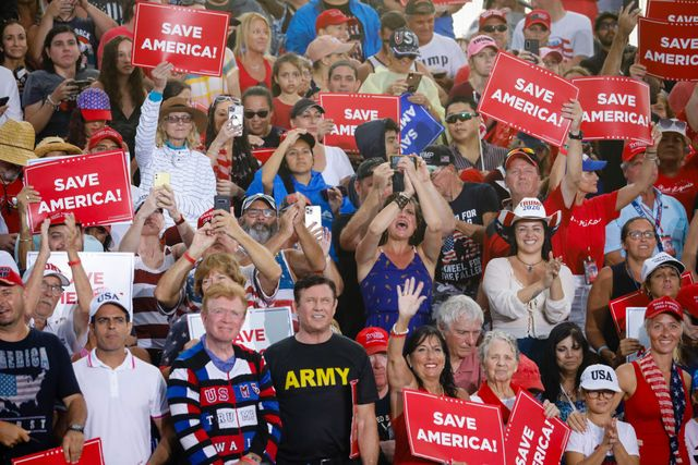 sarasota, fl   july 03 people wait for former us president donald trump to hold a rally on july 3, 2021 in sarasota, florida co sponsored by the republican party of florida, the rally marks trumps further support of the maga agenda and accomplishments of his administration photo by eva marie uzcateguigetty images