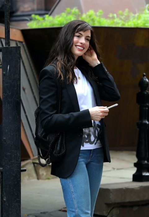 new york, ny   july 09 anne hathaway is seen on the set of íwecrashed on july 09, 2021 in new york city  photo by jose perezbauer griffingc images