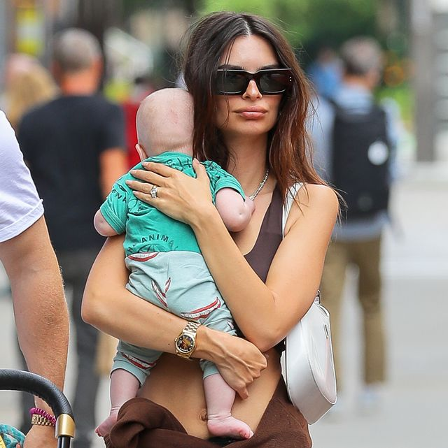 new york city, ny   july 10  emily ratajkowski is seen out for a walk with her baby and her husband sebastian bear mcclard  on july 10, 2021 in new york city, new york photo by megagc images