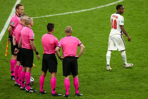 11 july 2021, united kingdom, london football european championship, italy   england, final round, final at wembley stadium englands raheem sterling r walks away from referee björn kuipers 2nd from left and his colleagues photo christian charisiusdpa photo by christian charisiuspicture alliance via getty images