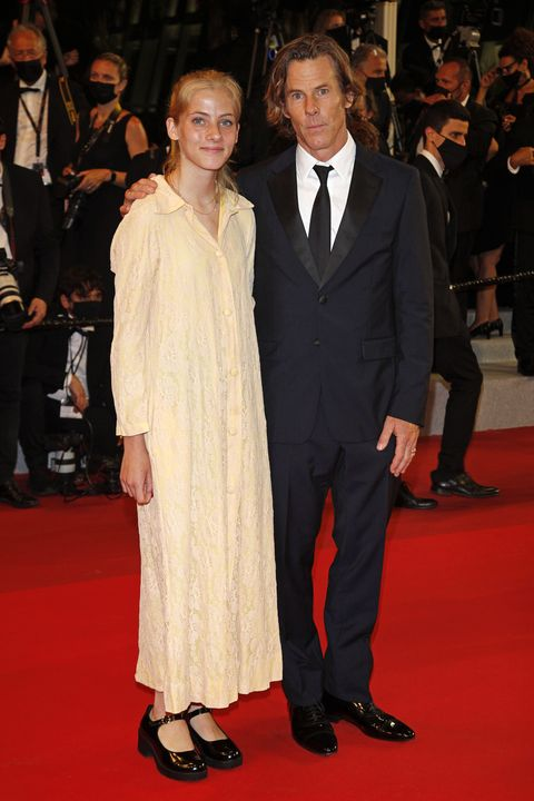 cannes, france   july 10, 2021 danny moder and daughter hazel moder arrive at the premiere of flag day during the 74th cannes film festival held at the palais des festivals in cannes, france photo credit should read p lehmanbarcroft media via getty images
