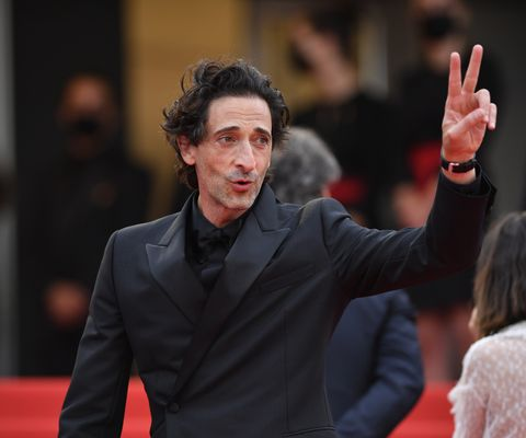 cannes, france   july 12 us actor adrien brody l and french music composer alexandre desplat r arrive for the screening of the film âthe french dispatch in competition at the 74th annual cannes film festival in cannes, france on july 12, 2021 photo by mustafa yalcinanadolu agency via getty images