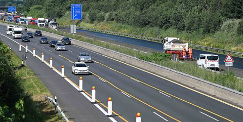 17 july 2021, lower saxony, hanover construction site vehicles are in operation on the westbound a2 motorway from 16 to 19 july 2021, around 20,000 square metres of asphalt are to be replaced on the a2 between hannover bothfeld and varrelheide in 57 hours photo swen pförtnerdpa photo by swen pförtnerpicture alliance via getty images