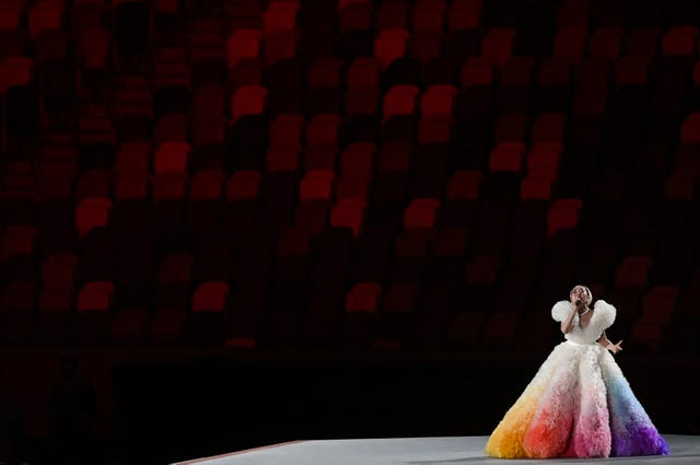 23 july 2021, japan, tokio olympics opening ceremony at the olympic stadium singer misa sings the national anthem photo sebastian gollnowdpa photo by sebastian gollnowpicture alliance via getty images
