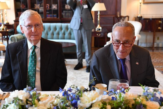 senate majority leader chuck schumer d ny and senate minority leader mitch mcconnell r ky meet iraqi prime minister mustafa al kadheminot shown during a lunch at the us capitol in washington, dc, on july 28, 2021 photo by nicholas kamm  afp photo by nicholas kammafp via getty images