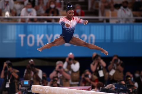 tokyo, japan august 03 simone biles of usa competes in womens balance beam final on day eleven of the tokyo 2020 olympic games at ariake gymnastics center on august 03, 2021 in tokyo, japan biles won the third place photo by ali atmacaanadolu agency via getty images