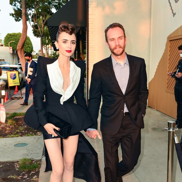 los angeles, ca   august 24 lily collins and charlie mcdowell are seen on august 24, 2021 in los angeles, california  photo by jocebauer griffingc images
