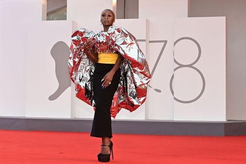 """jury member of the 78th venice film festival, british actress cynthia erivo arrives for the screening of the film """"dune"""" presented out of competition on september 3, 2021 during the 78th venice film festival at venice lido photo by miguel medina  afp photo by miguel medinaafp via getty images"""